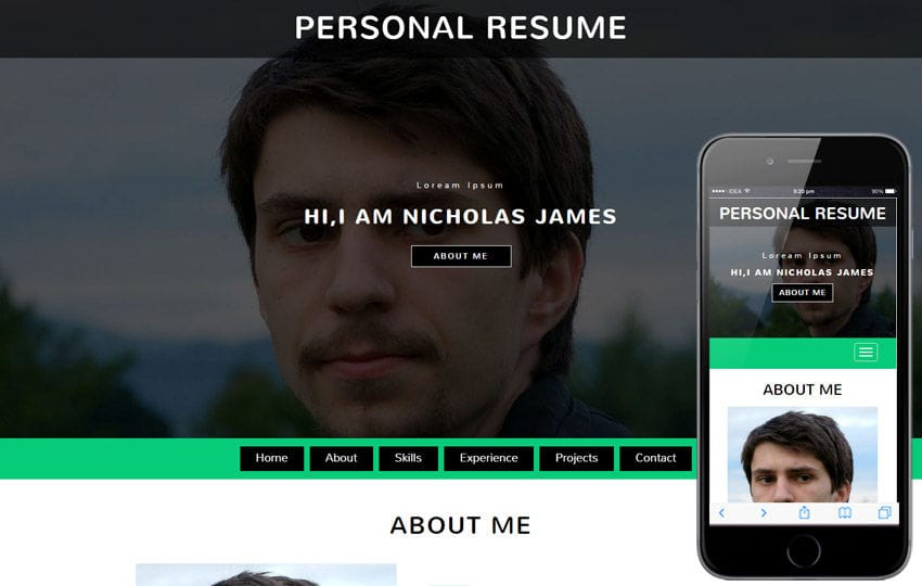 Personal Resume a Personal Category Bootstrap Responsive Web Template Mobile website template Free