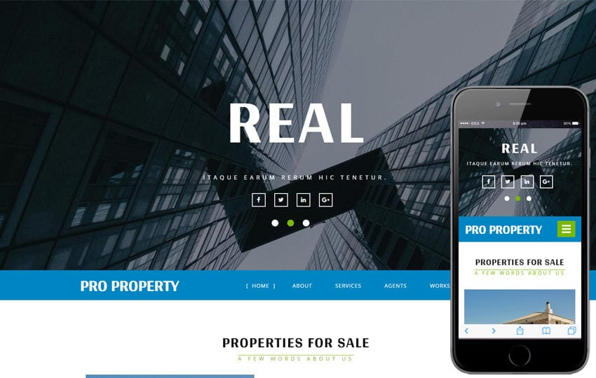 Pro Property a Real Estate Category Bootstrap Responsive Web Template Mobile website template Free