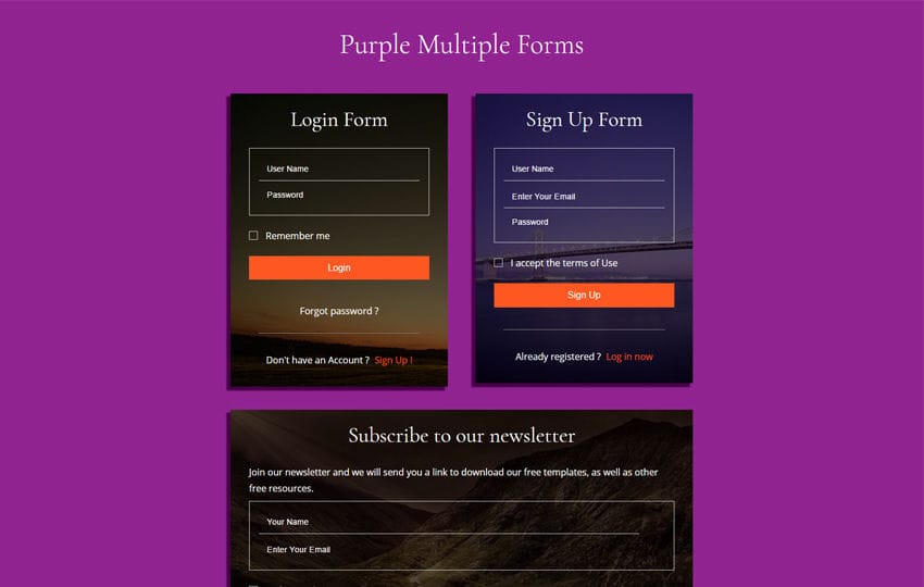 Purple Multiple Forms Flat Responsive Widget Template Mobile website template Free