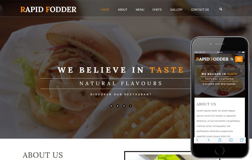 Rapid Fodder a Hotels and Restaurants Category Flat Bootstrap Responsive Web Template Mobile website template Free