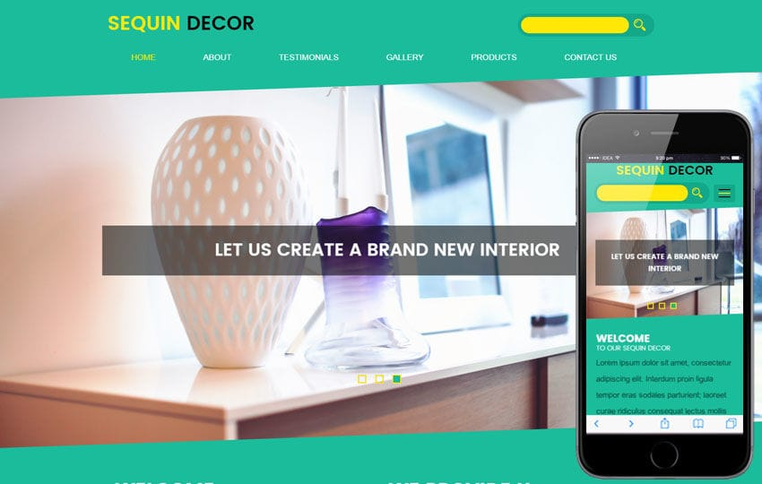 Sequin Decor an Interior Category Flat Bootstrap Responsive Web Template