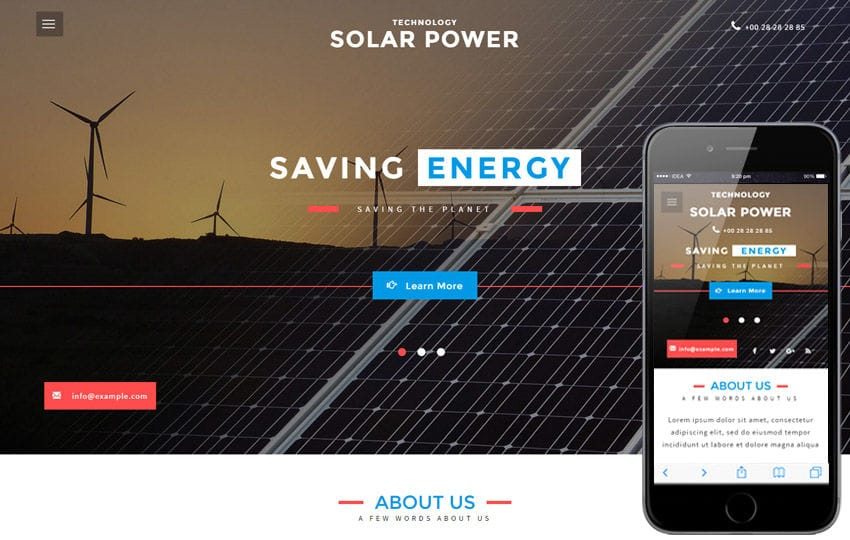 Solar Power an Industrial Category Flat Bootstrap Responsive Web Template Mobile website template Free