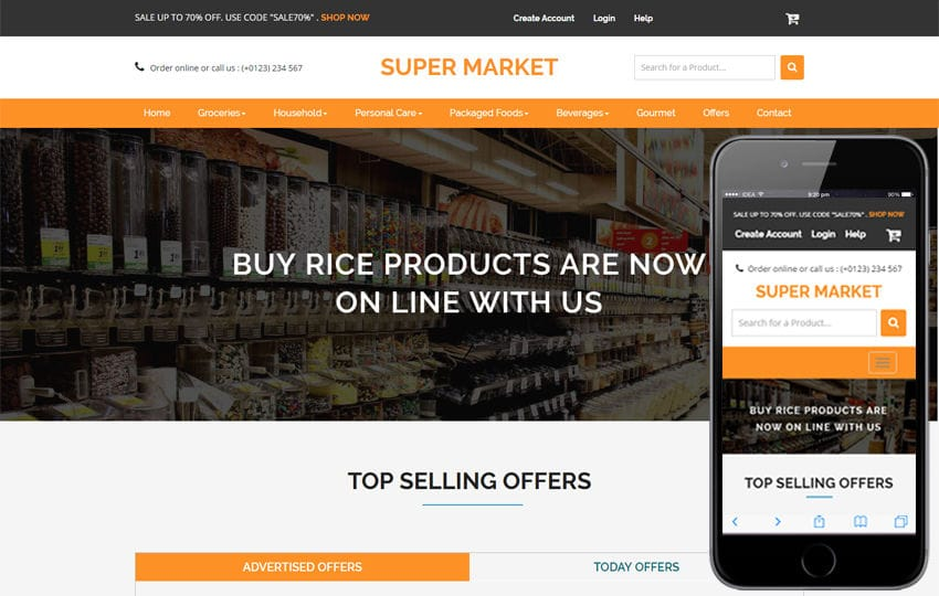 Super Market An Ecommerce Online Shopping Flat Bootstrap Responsive - Buy ecommerce website templates