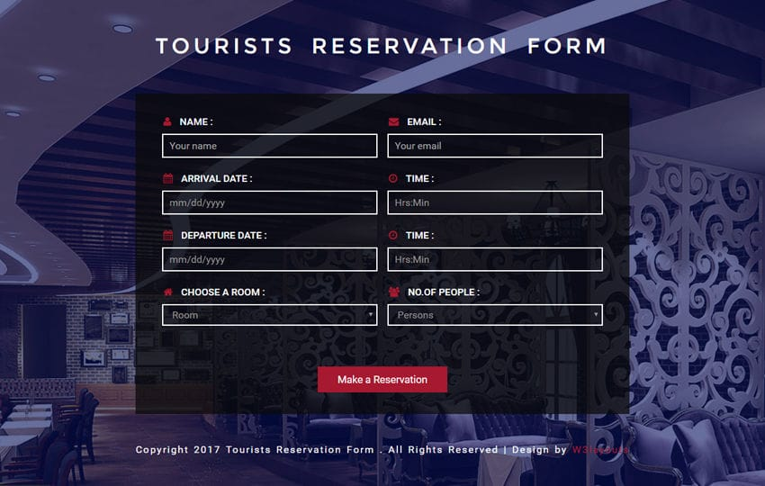 Tourists Reservation Form Responsive Widget Template Mobile website template Free