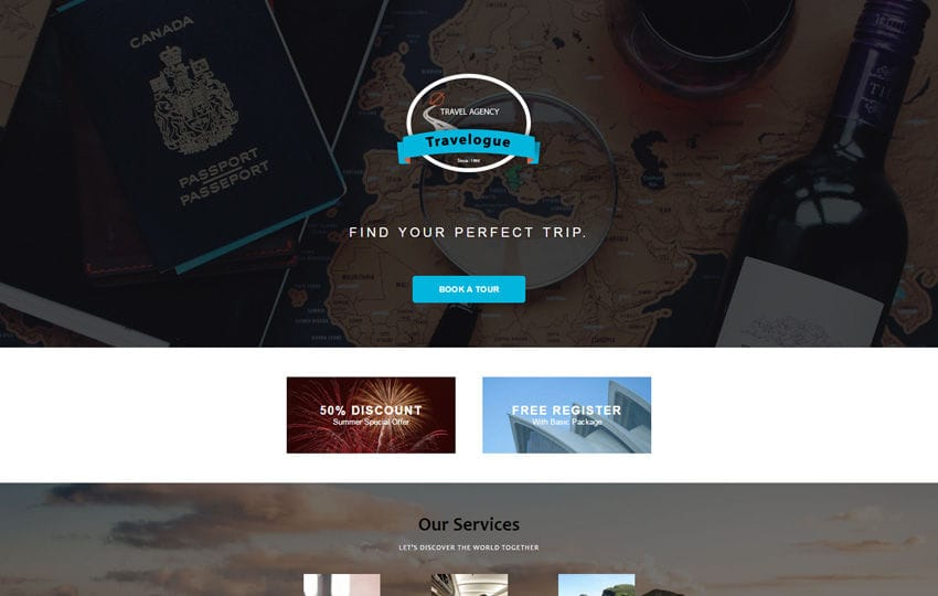 Travelogue a Newsletter Responsive Email Template Mobile website template Free