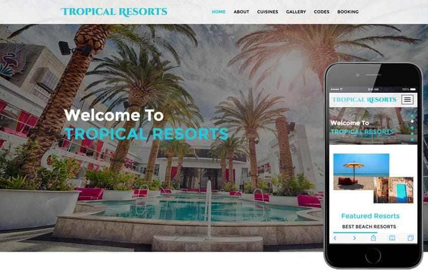 Tropical Resorts a Hotels and Restaurants Category Bootstrap Responsive Web Template Mobile website template Free