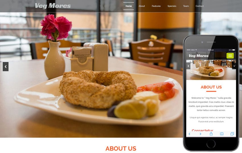 Veg Mores a Restaurant Category Bootstrap Responsive Web Template Mobile website template Free