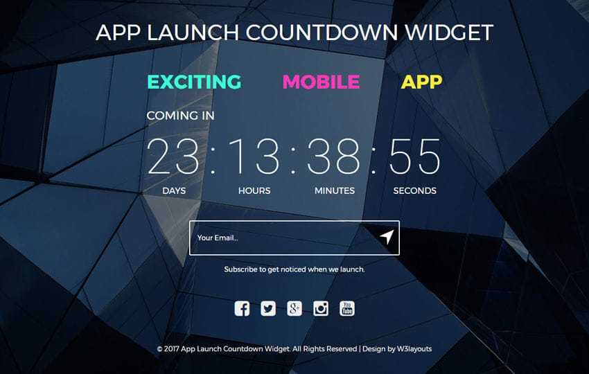 App Launch Countdown Widget a Flat Responsive Widget Template Mobile website template Free