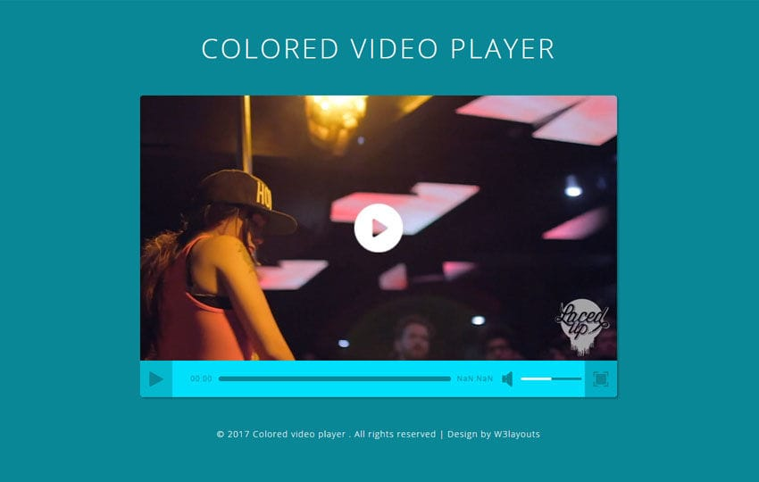 Colored Video Player a Flat Responsive Widget Template Mobile website template Free