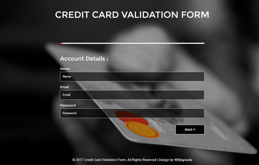 Credit Card Validation Form a Flat Responsive Widget Template Mobile website template Free