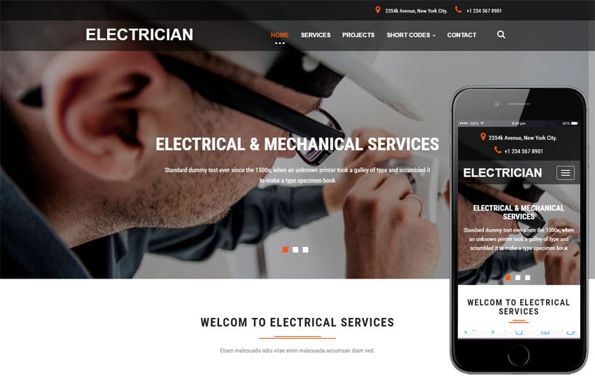 Electrician an Industrial Category Bootstrap Responsive Web Template Mobile website template Free