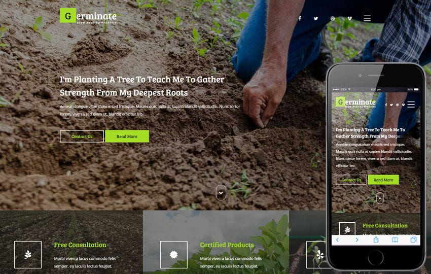 Germinate an Agriculture Flat Bootstrap Responsive Web Template Mobile website template Free