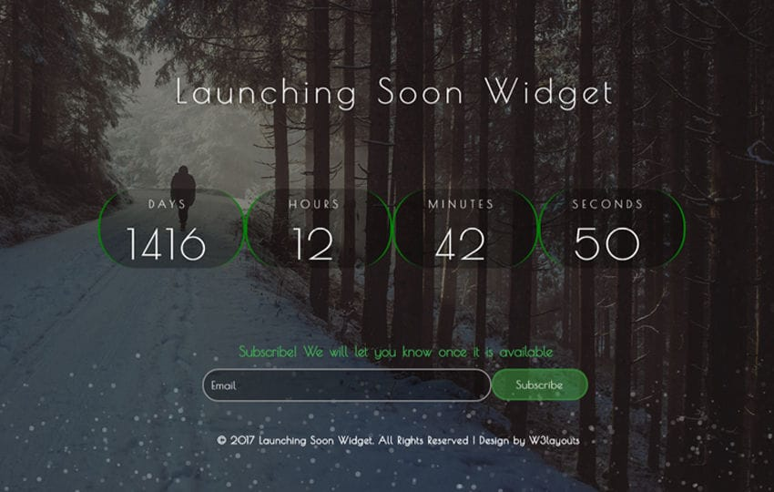 Launching Soon Widget a Flat Responsive Widget Template Mobile website template Free