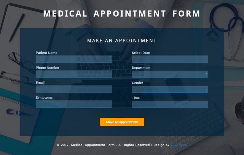Medical Appointment Form a Flat Responsive Widget Template Mobile website template Free