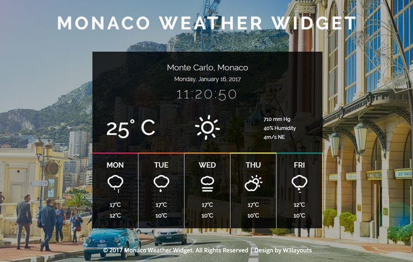 Monaco Weather Widget a Flat Responsive Widget Template Mobile website template Free