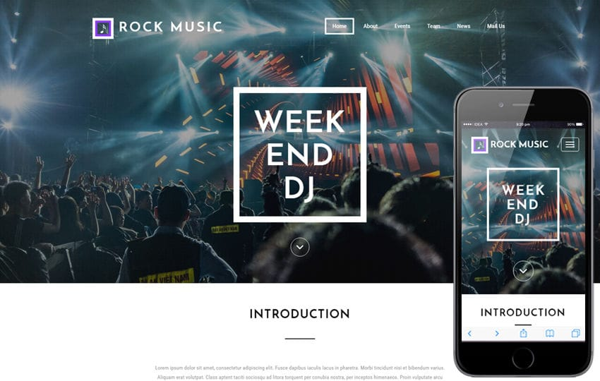Rock Music An Entertainment Flat Bootstrap Responsive Web Template - Dj website templates