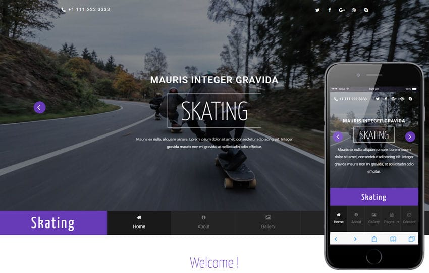 Skating a Sports Category Flat Bootstrap Responsive Web Template Mobile website template Free