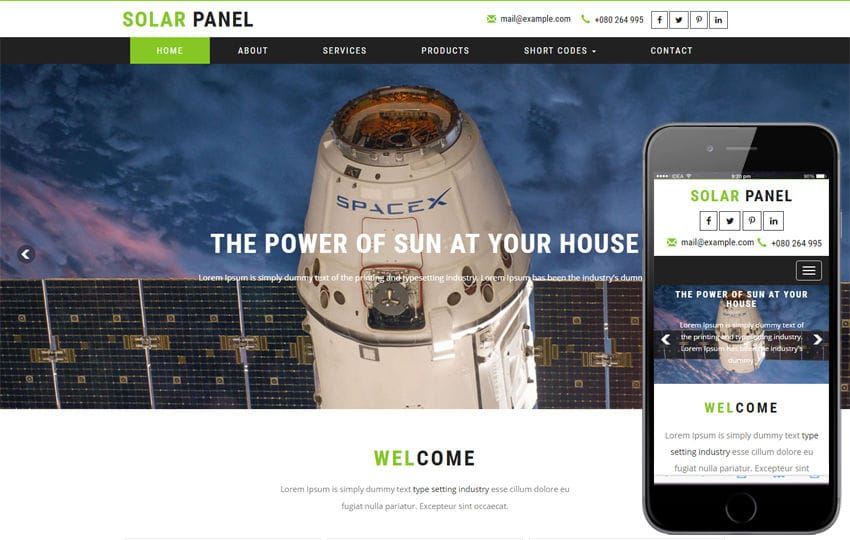 Solar Panel an Industrial Category Bootstrap Responsive Web Template Mobile website template Free