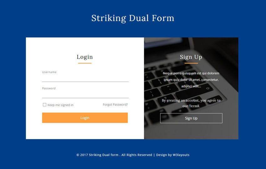 Striking Dual Form a Flat Responsive Widget Template