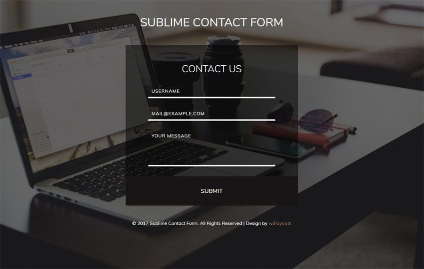 Sublime Contact Form Flat Responsive Widget Template Mobile website template Free