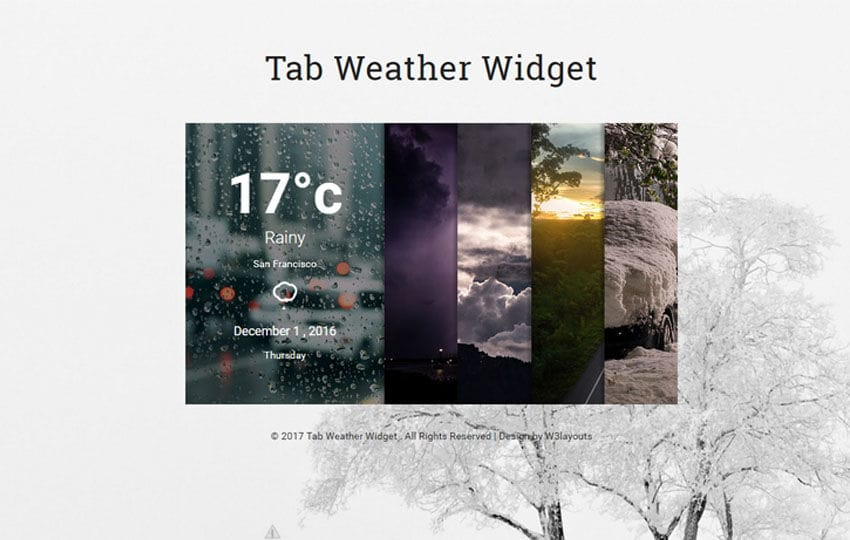 Tab Weather Widget Flat Responsive Widget Template Mobile website template Free