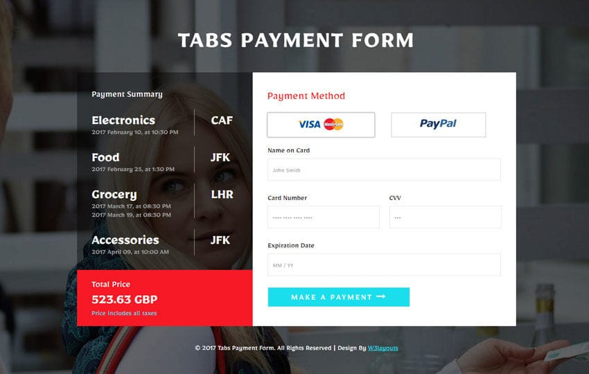 Tabs Payment Form Flat Responsive Widget Template Mobile website template Free