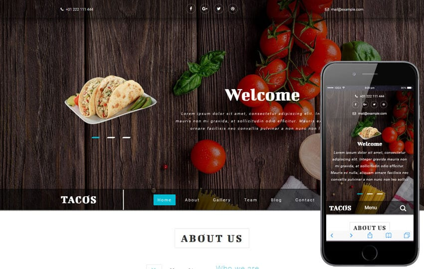 Tacos a Hotels and Restaurants Bootstrap Responsive Web Template Mobile website template Free