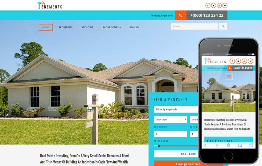 Tenements a Real Estate Flat Bootstrap Responsive Web Template Mobile website template Free