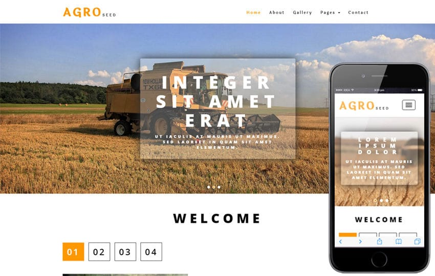 Agro Seed an Agriculture Category Bootstrap Responsive Web Template Mobile website template Free