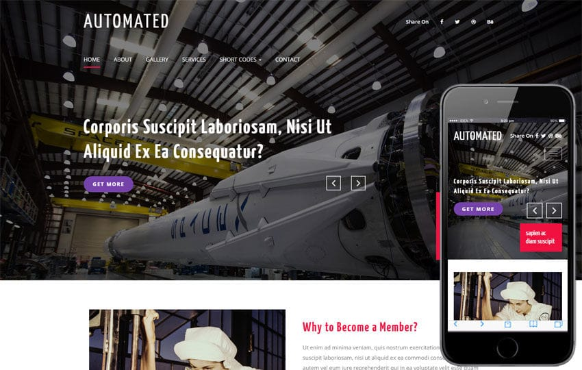 Automated an Industrial Flat Bootstrap Responsive Web Template Mobile website template Free