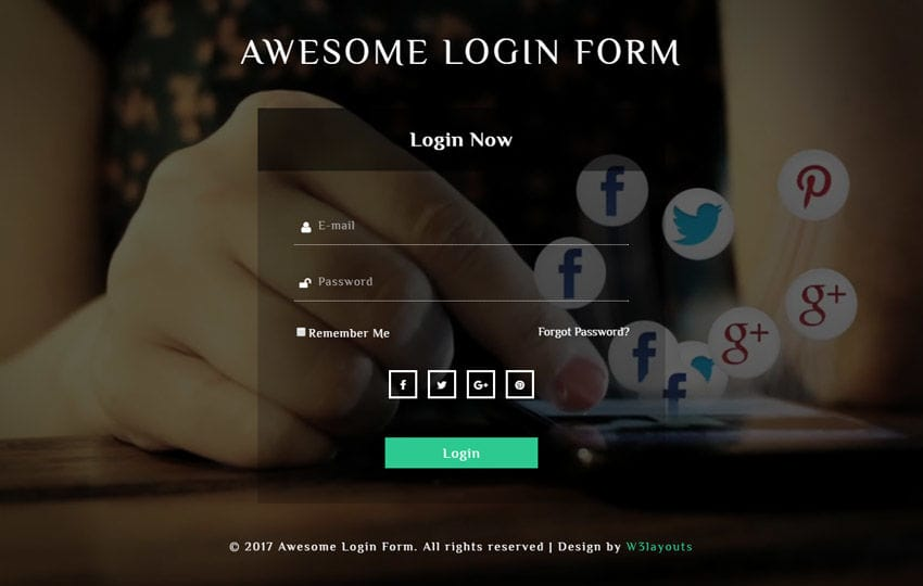 Awesome Login Form Responsive Widget Template Mobile website template Free