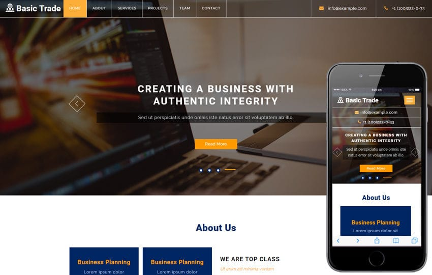 Basic trade a corporate business bootstrap responsive web template fbccfo
