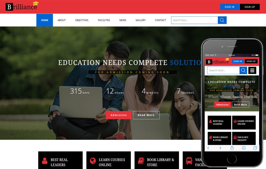 Brilliance an Education Category Flat Bootstrap Responsive Web Template Mobile website template Free