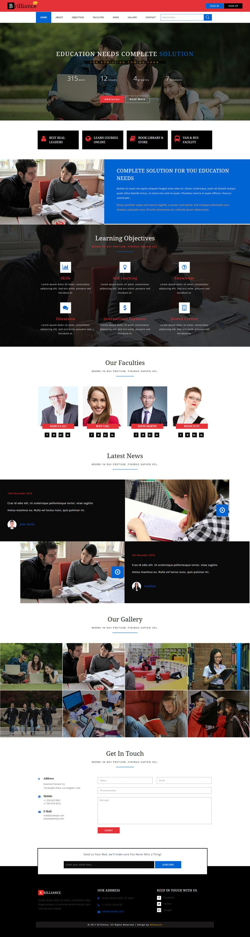 Brilliance An Education Category Flat Bootstrap Responsive Web Template - Complete website templates free download