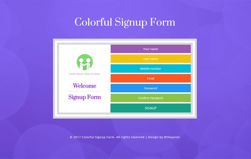 Colorful Signup Form Flat Responsive Widget Template – Signup Template