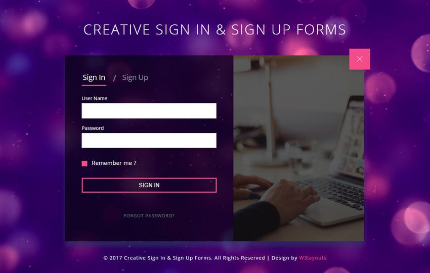 Creative Sign In and Sign Up Forms a Responsive Widget Template Mobile website template Free