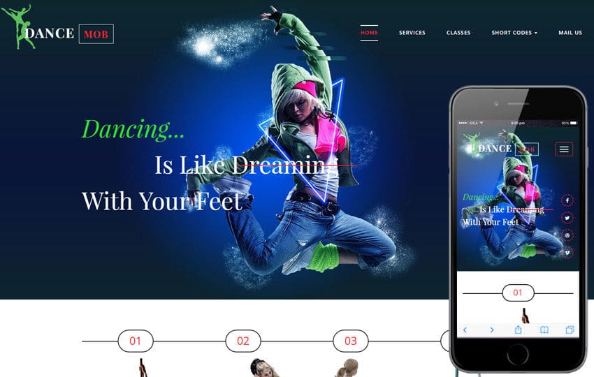 Dance Mob an Entertainment Flat Bootstrap Responsive Web Template Mobile website template Free