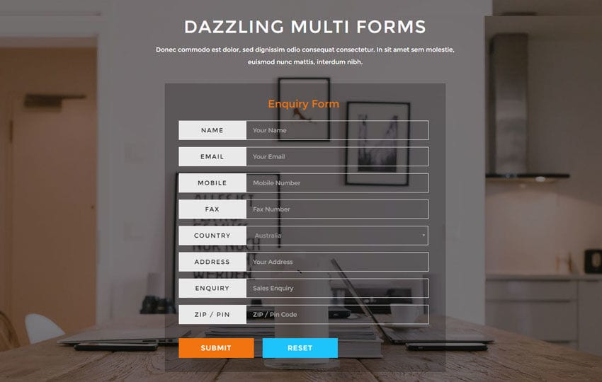 Dazzling Multi Forms Flat Responsive Widget Template Mobile website template Free