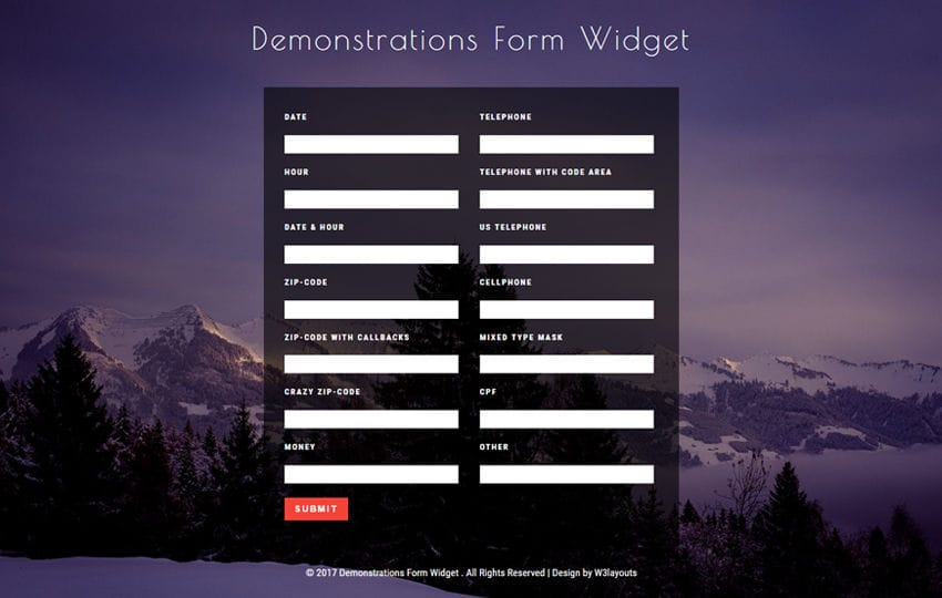 Demonstrations Form Widget Flat Responsive Widget Template Mobile website template Free