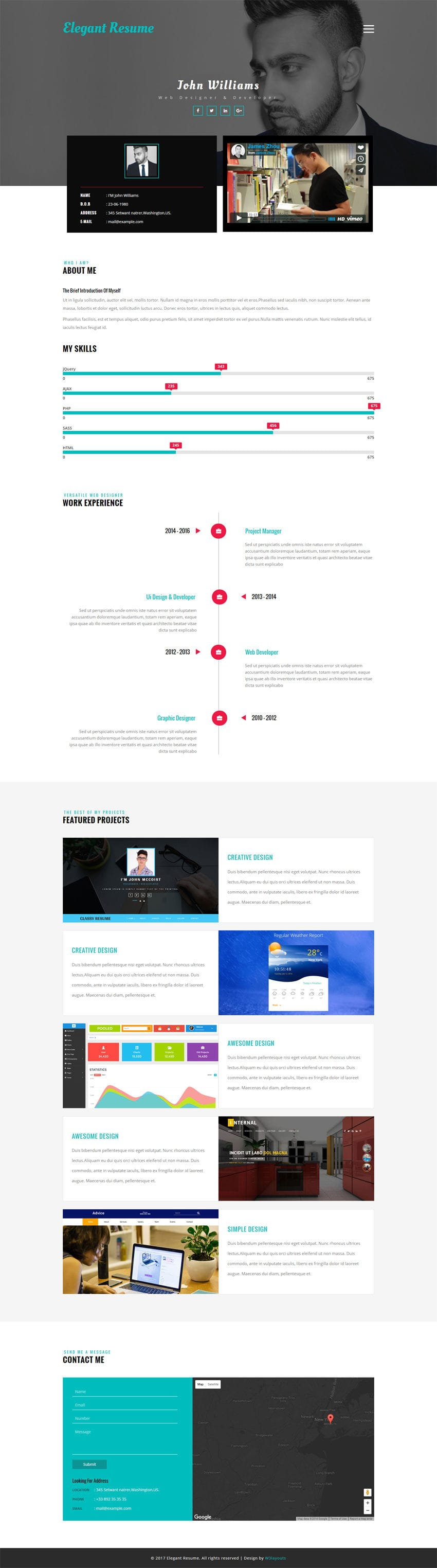 Elegant Resume A Personal Category Flat Bootstrap Responsive Web