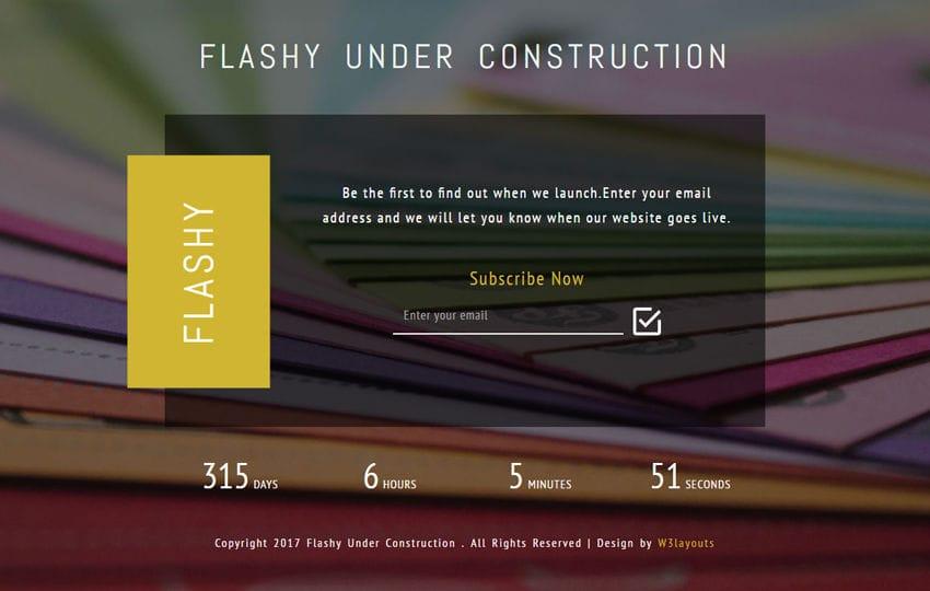 Flashy Under Construction Responsive Widget Template Mobile website template Free