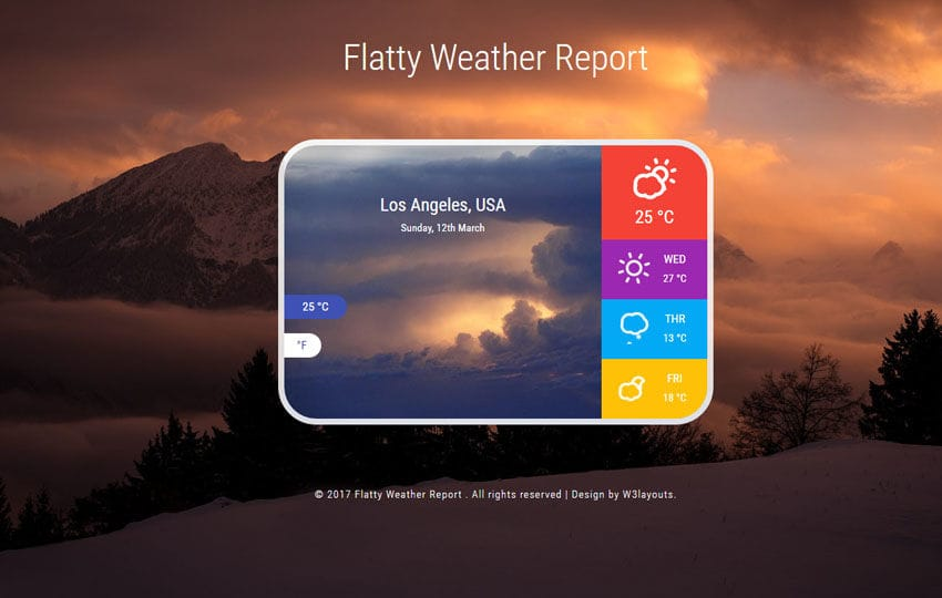 Flatty Weather Report Responsive Widget Template Mobile website template Free