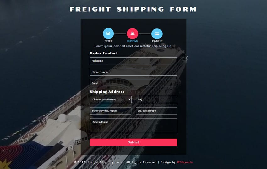 Freight Shipping Form a Flat Responsive Widget Template Mobile website template Free