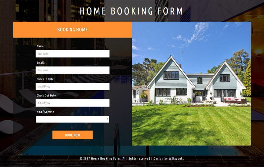Home Booking Form Responsive Widget Template Mobile website template Free