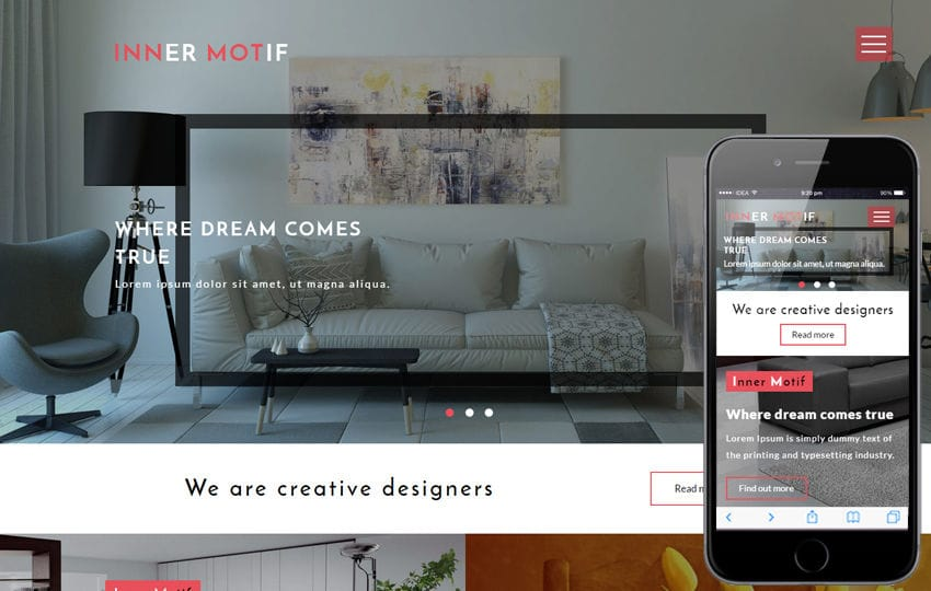 Inner Motif an Interior Category Flat Bootstrap Responsive Web Template Mobile website template Free