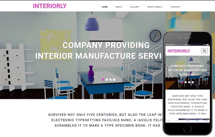 Interiorly an Interior Flat Bootstrap Responsive Web Template Mobile website template Free
