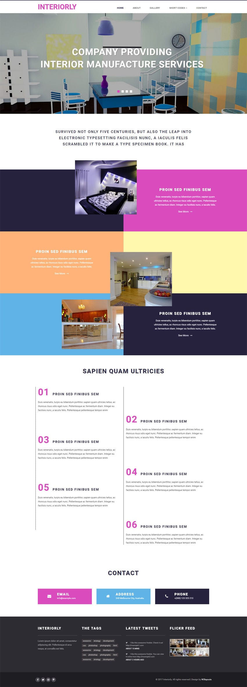 Interiorly an interior flat bootstrap responsive web template for Interior design responsive website templates edge free download