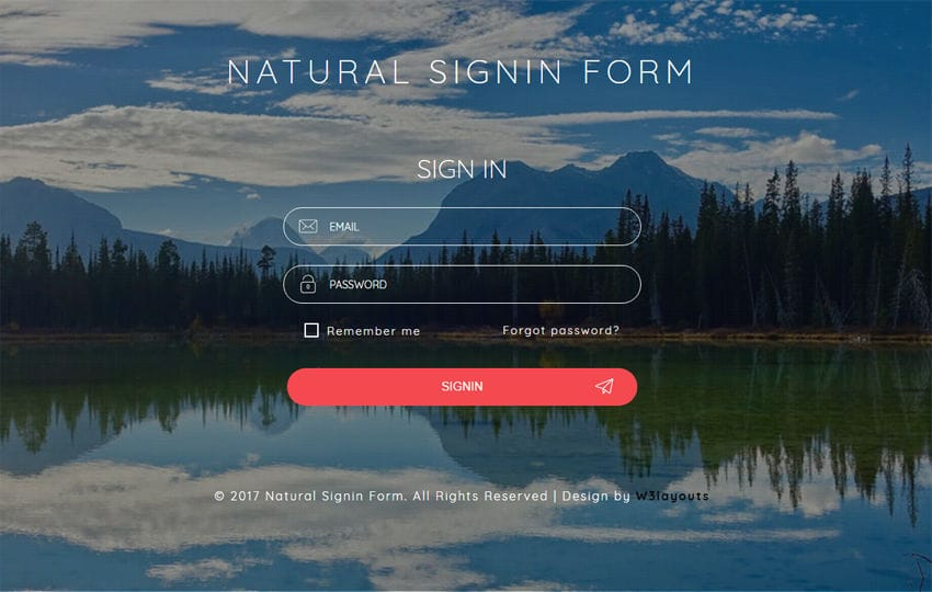 Natural Signin Form a Flat Responsive Widget Template Mobile website template Free