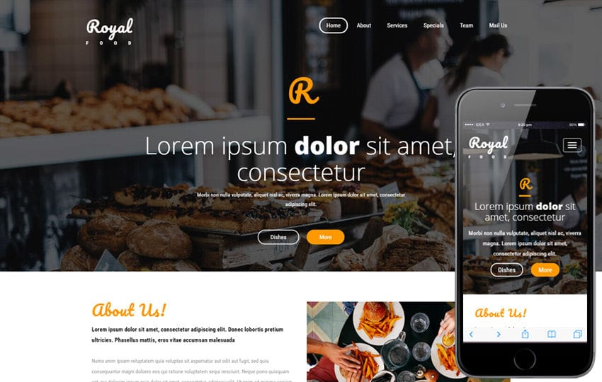 Royal Food a Hotels and Restaurants  Bootstrap Responsive Web Template Mobile website template Free
