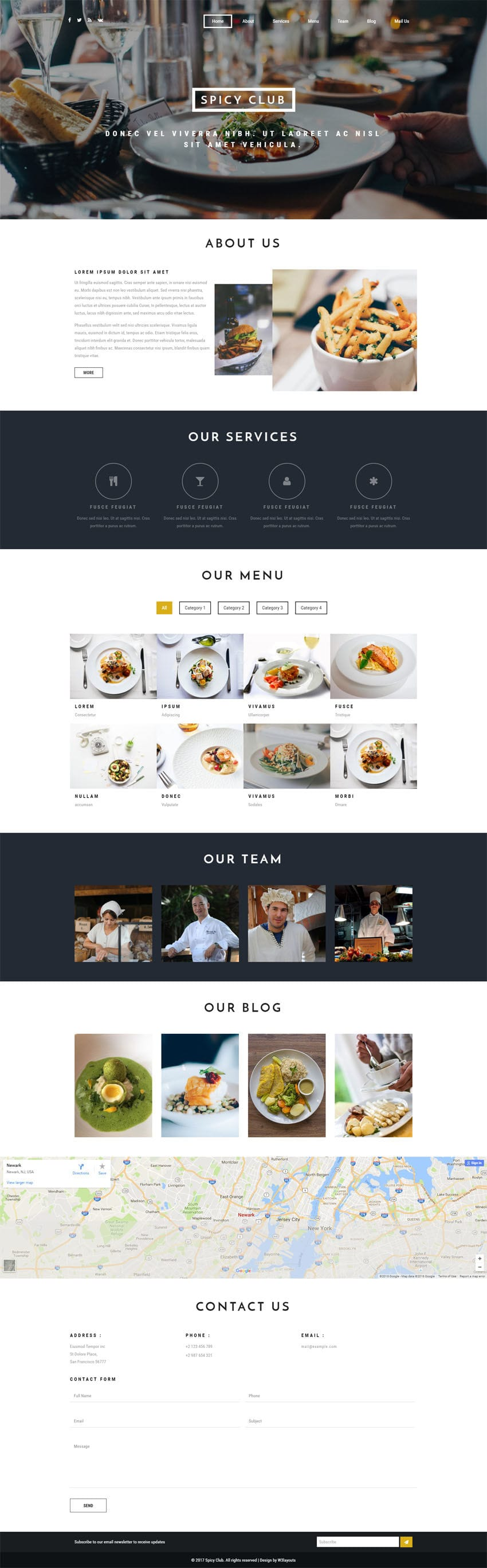 Spicy Club A Hotels And Restaurants Bootstrap Responsive Web Template